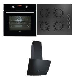 Teka Ankastre Set; HAK 625 N Fırın, HEL LUX 60 4G AI AL L Ocak, ATV 60 Davlumbaz, Siyah